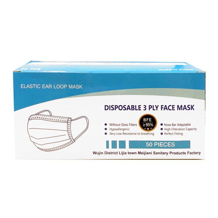 Disposable Face Mask 3 Ply Blue 50 Pcs