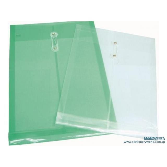 PVC Data Envelope with String and Button Foolscap Size 119 Yellow