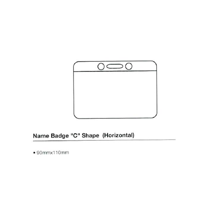 C Shape Name Badge 90 x 108mm Horizontal