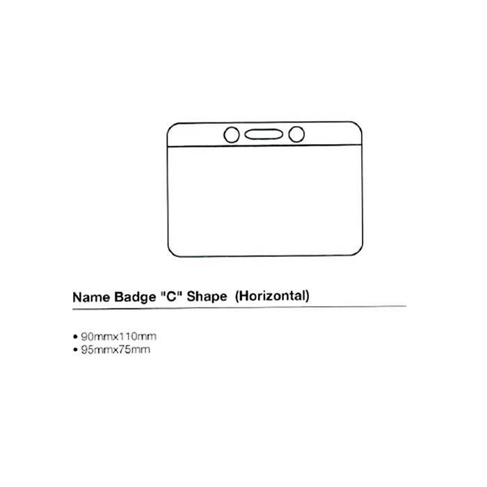 C Shape Name Badge 95 x 75mm Horizontal