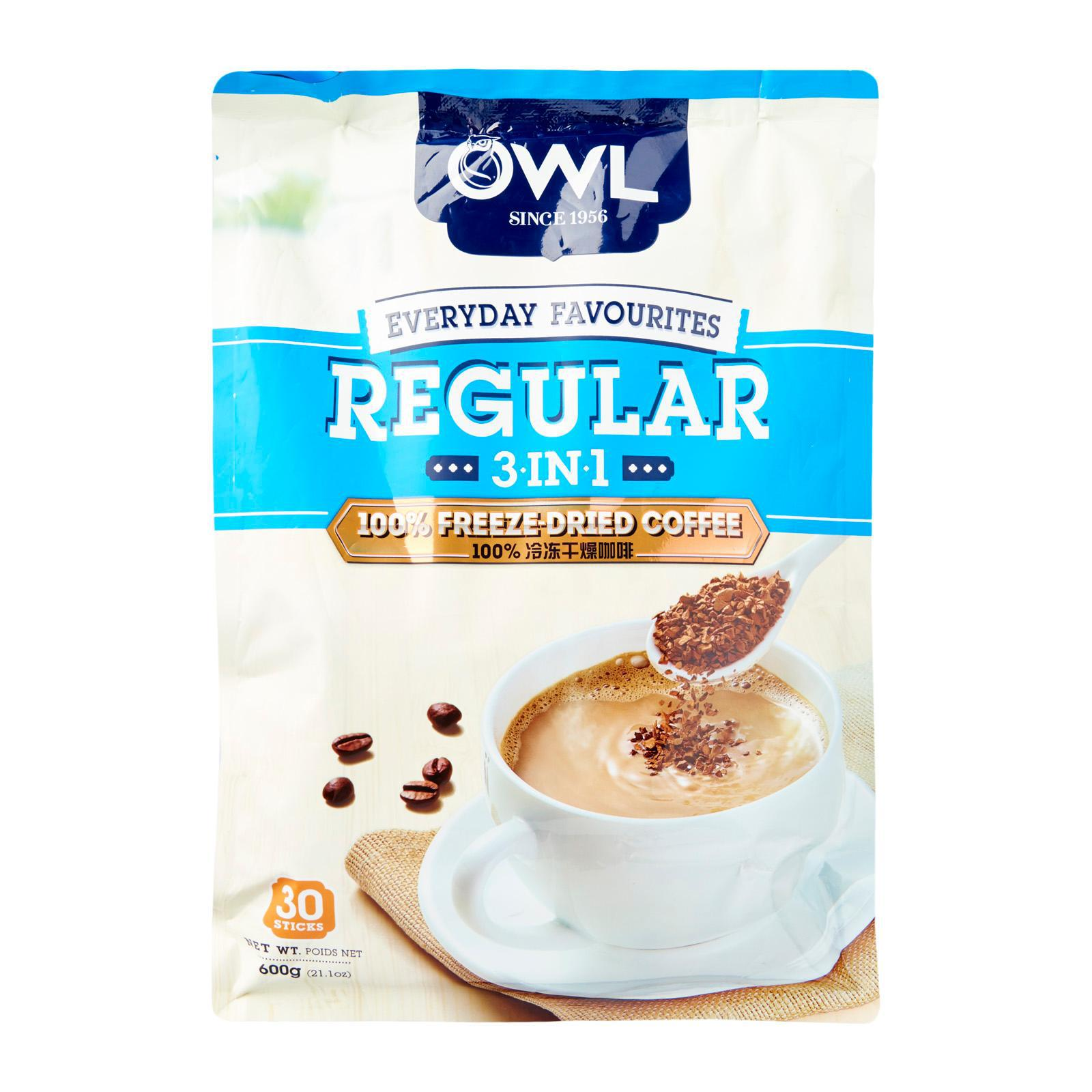 OWL Regular 3 in 1 Freeze Dried Instant Coffee Pack of 30
