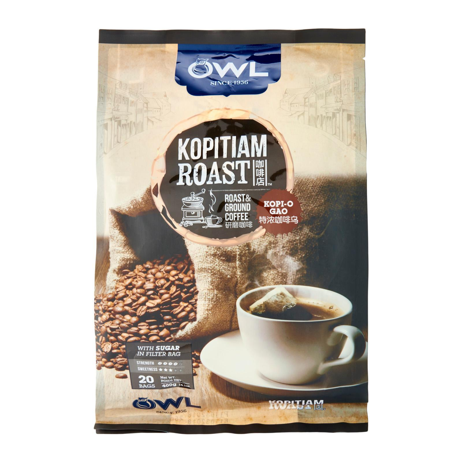 OWL Kopitiam Roast Instant Coffee Kopi O Gao Pack of 20