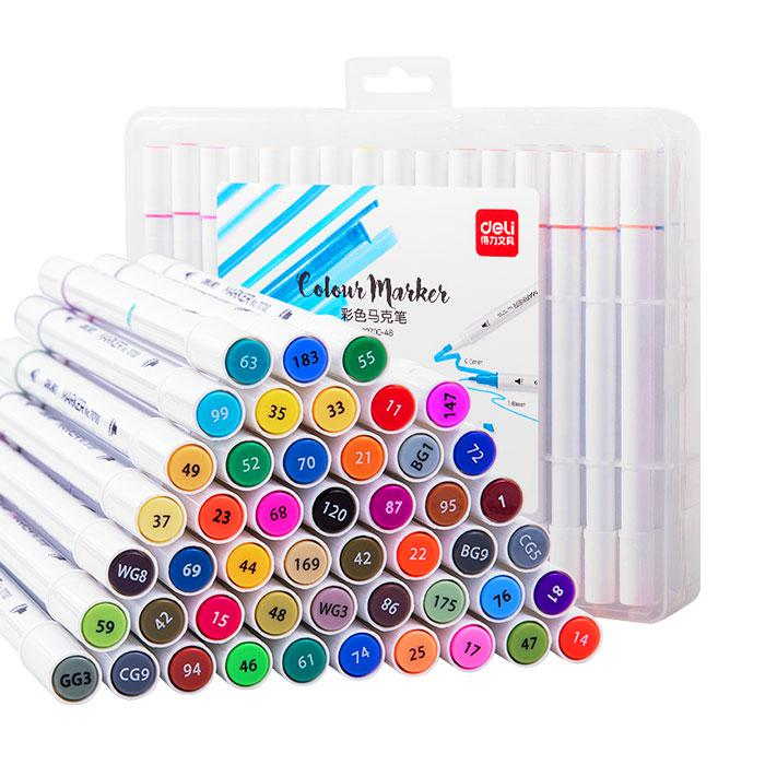 Deli Permanent Twin Marker 48 Colours 70700-48