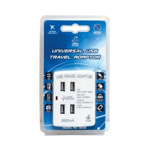 FYM Universal Travel Adaptor with USB Chargers 4200mAh 9206H