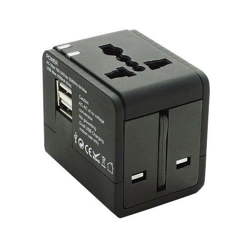 Travel Adaptor with Dual USB Chargers FG334