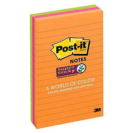 3M Post-it Notes Super Sticky Lined Neon 660-3SSUC