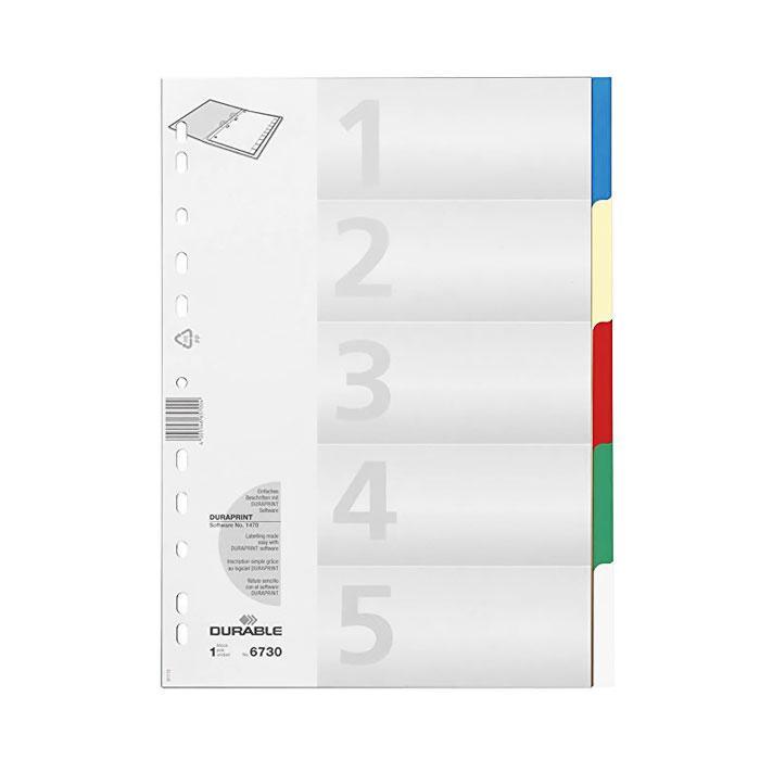 Durable Plastic 5 Colour Index Divider Set 6730