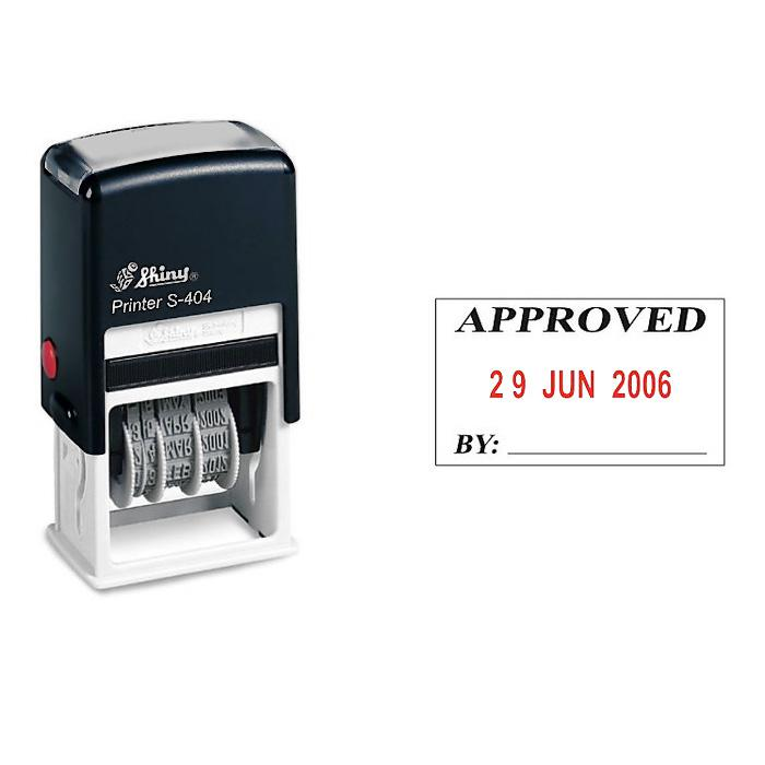 Shiny Self Inking Date Stamp Approved S404