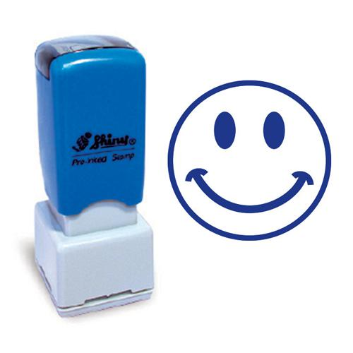 Shiny Pre-Inked Teacher Stamp Smiling Face Blue HS035