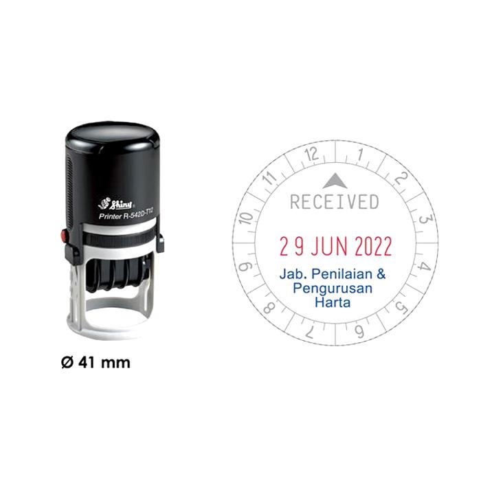 Shiny Self Inking Time and Date Stamp 12 Hours R542D-T12