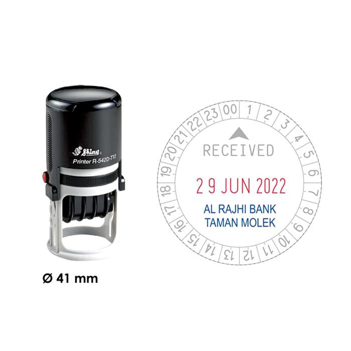 Shiny Self Inking Time and date Stamp 24 Hours R542D-T24