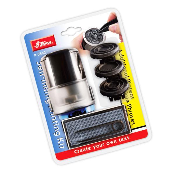 Shiny Self Inking Printing Kit Round Holder PK-R5842