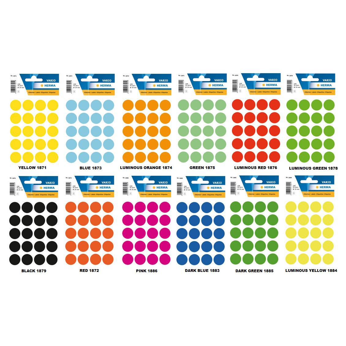 HERMA Adhesive Round Labels Colour 19mm
