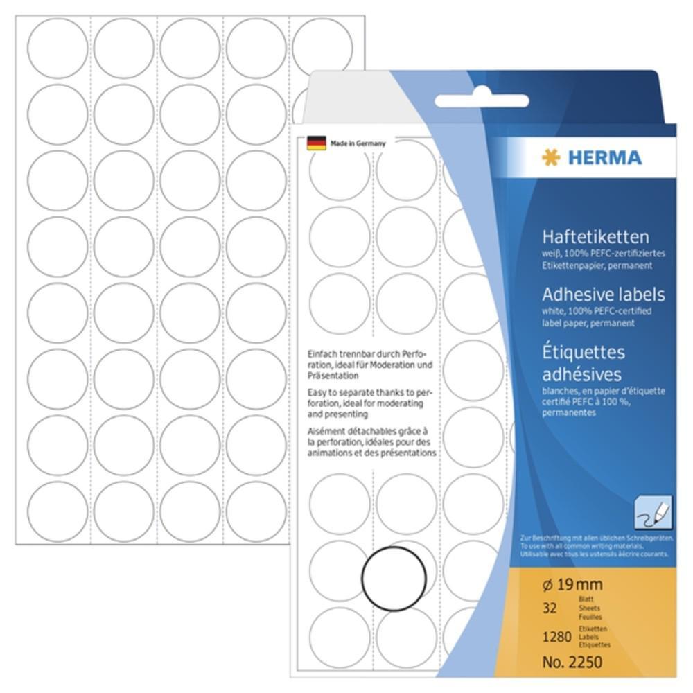 HERMA Adhesive Round Labels 19mm 2250