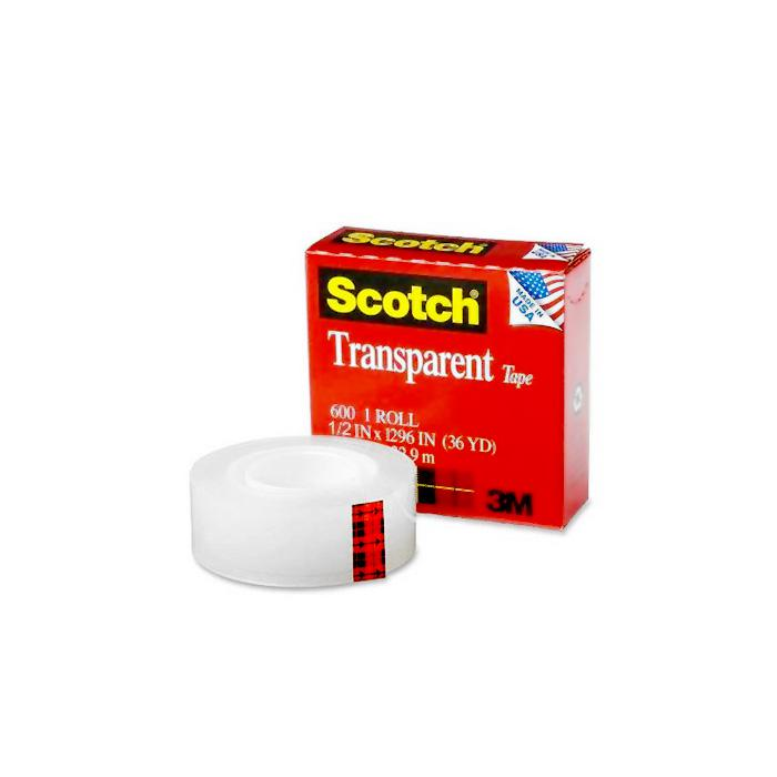 3M 600 Transparent Tape 12mm x 25M (1/2 Inch)