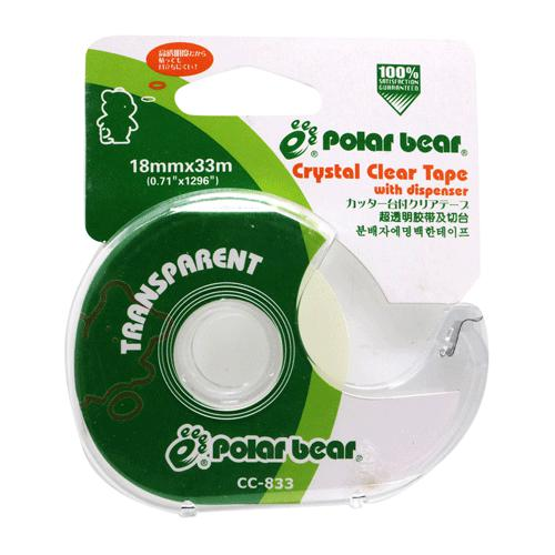 Polar Bear Clear Tape with Dispenser 18mm x 33M C833