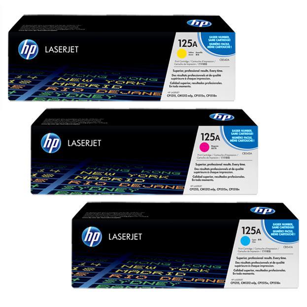 HP 125A Colour Original LaserJet Toner Cartridge CB541A/CB542A/CB543A