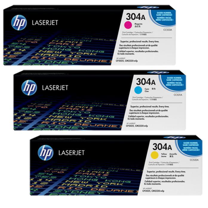 HP 304A Colour Original LaserJet Toner Cartridge CC531A/CC532A/CC533A