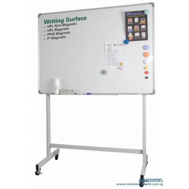 Single Sided Whiteboard with Stand and Roller 90 x 150cm (3 x 5 Foot)