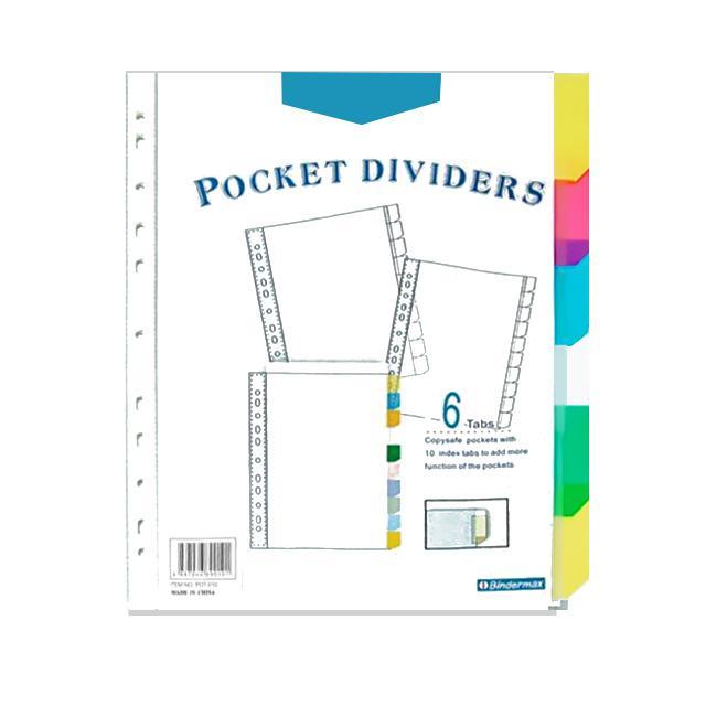 Bindermax Pocket Dividers with 6 Tabs PDT006