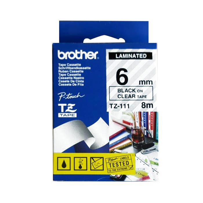 Brother Tape Cassette Black on Clear 6mm TZ-111