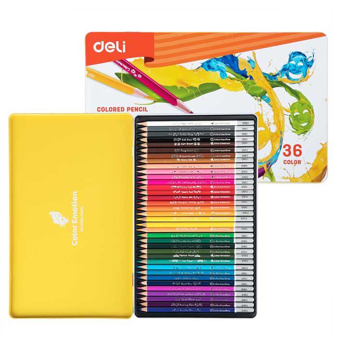 Deli Colour Pencil 36 Colours Metal Box EC00235