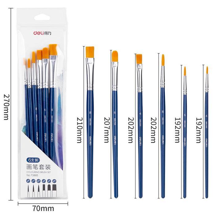 Deli Colouring Brush Set Pack of 6 Pcs 73885