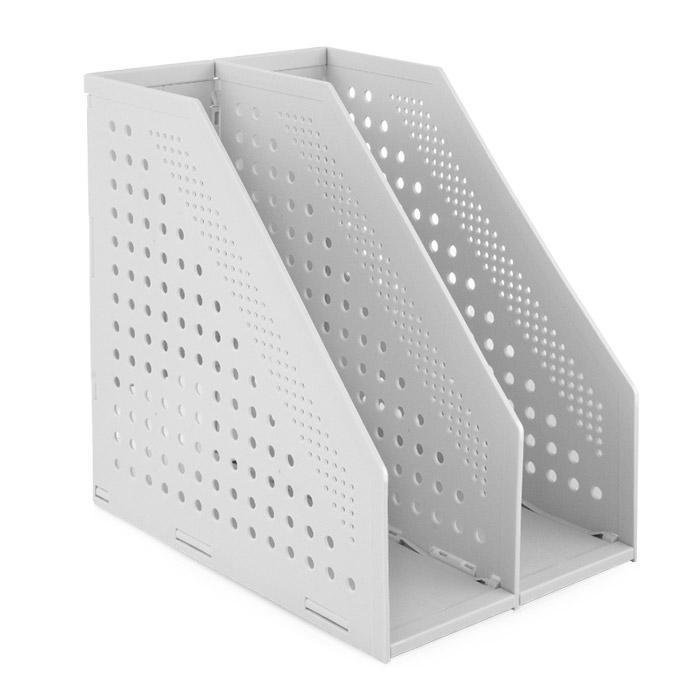 Deli Foldable 2 Layers Magazine Holder Light Grey 78999