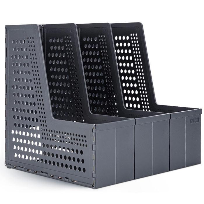 Deli Foldable 3 Layers Magazine Holder Dark Grey 79005