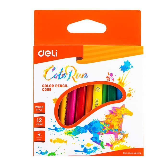 Deli Half Length Colour Pencil 12 Colours EC09900