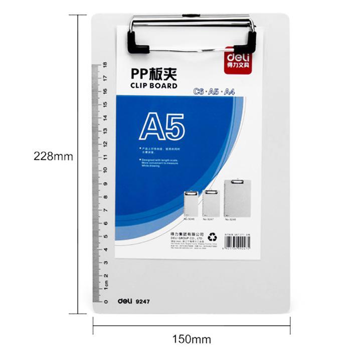 Deli PP Clip Board A5 Size 9247