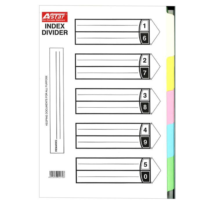 Excel Pentex 5 Colour Index Divider 10 Sets SW5100/PS0522