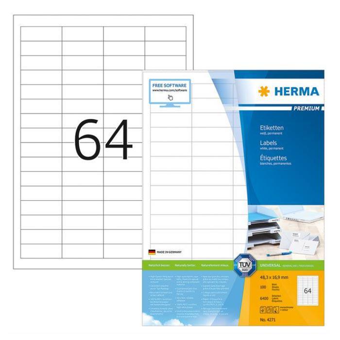 HERMA Premium White Labels 48.3 x 16.9mm 4271