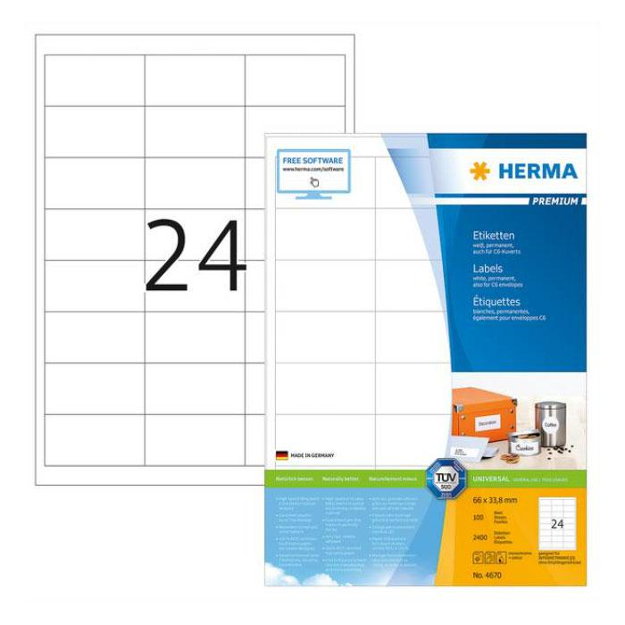 HERMA Premium White Labels 66 x 34mm 4670