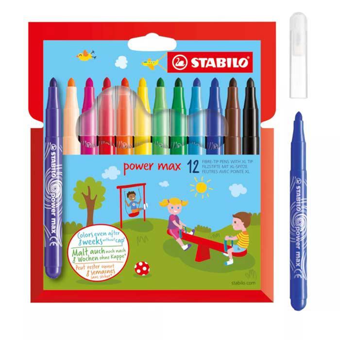 Stabilo Power Max Colouring Felt Tip Pen 12 Colours 980/12-01