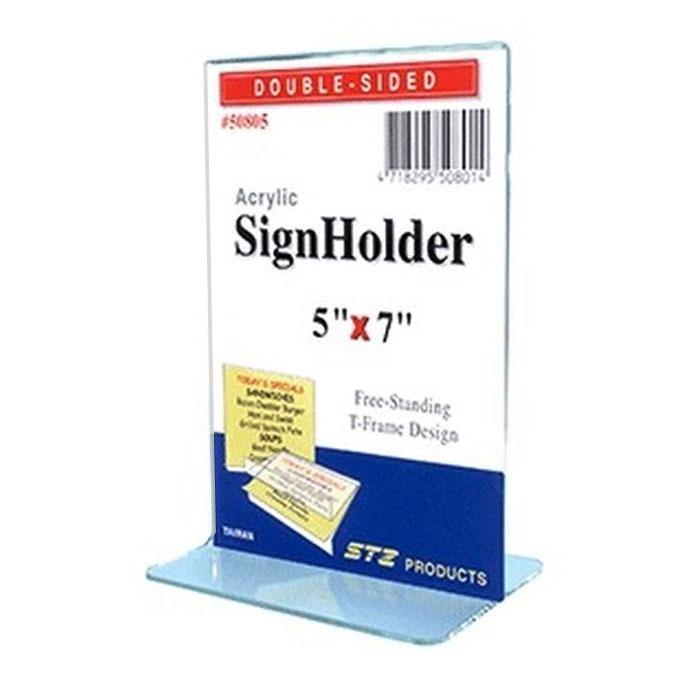 STZ Acrylic Sign Holder 5 x 7 Inch Vertical 50805