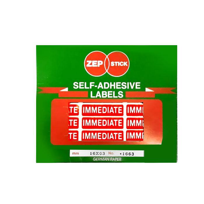 Zepstick Self Adhesive Labels Immediate 1663